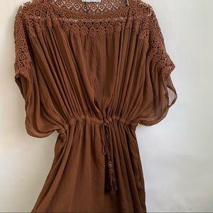 Mango Brown Textured Boho Dress